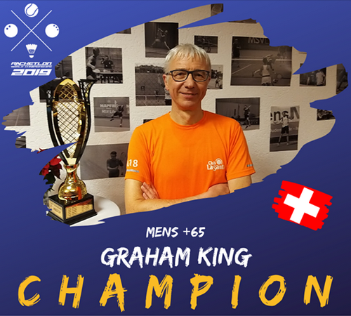 Graham King Racketlon +65 World Champion 2019